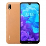 The Huawei Y5 2019 smartphone in amber brown color.