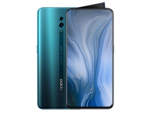 The OPPO Reno smartphone in Ocean Green color.
