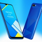 The Realme C2 smartphone in diamond blue color.