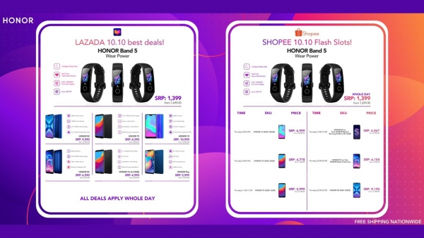 Discounted Honor products for the 10.10 shopping event.
