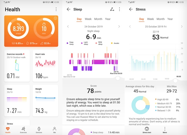 Huawei Watch GT 2 sleep and stress measurements viewed on the Huawei Health app.