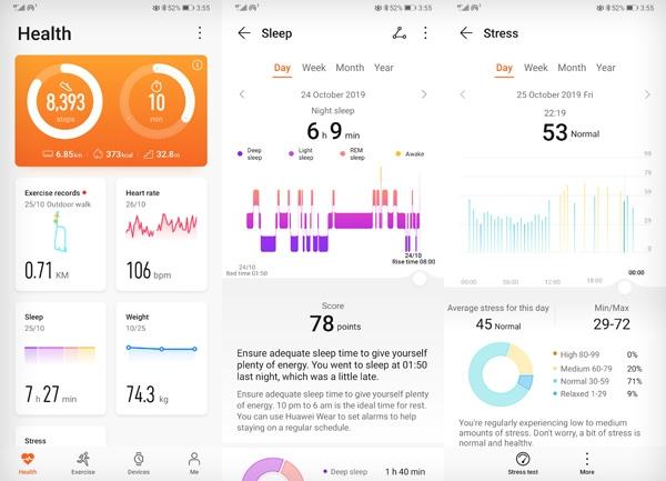 Huawei Watch GT 2 sleep and stress measurements viewed on the Huawei Health app.