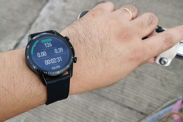 The Huawei Watch GT 2 will show this while a workout is active.