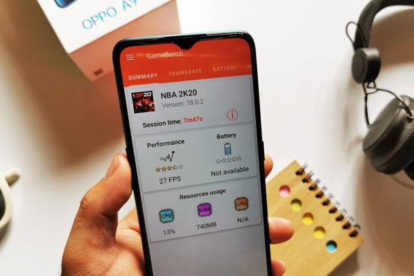 OPPO A9 2020 gaming performance for NBA 2K20