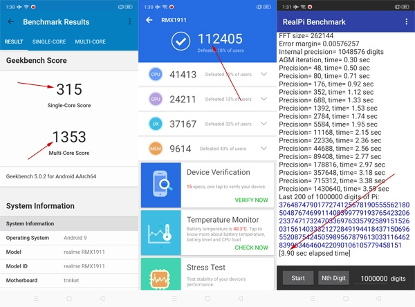 Realme 5 Benchmark scores from left to right - Geekbench, Antutu, and Real Pi).