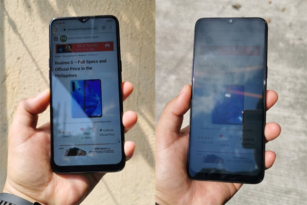 Realme 5 display indoor outdoor