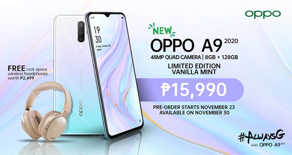OPPO A9 2020 Vanilla Mint price and freebies.