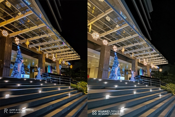 Sample night mode picture by Realme XT (left) and Huawei Nova 5T (right).