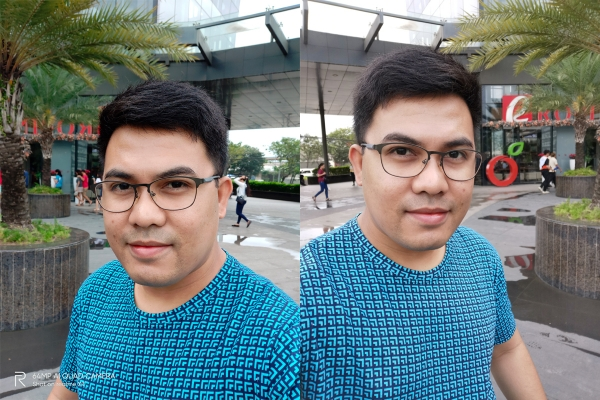 Sample selfies by Realme XT (left) and Huawei Nova 5T (right).