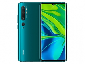 The Xiaomi Mi Note 10 smartphone in Aurora Green color.