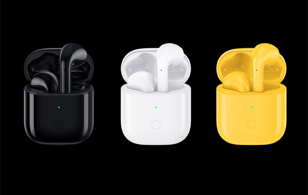 The Realme Buds Air in black, white and yellow.