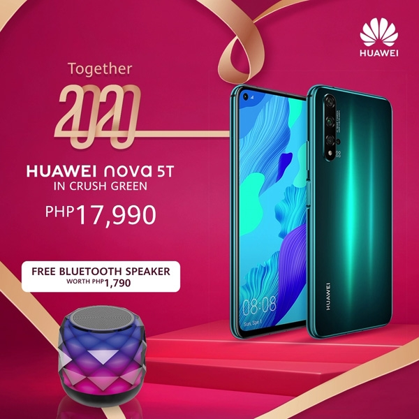 The Huawei Nova 5T Crush Green promo.