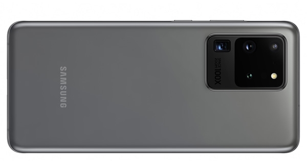 The back of the Samsung Galaxy S20 Ultra.