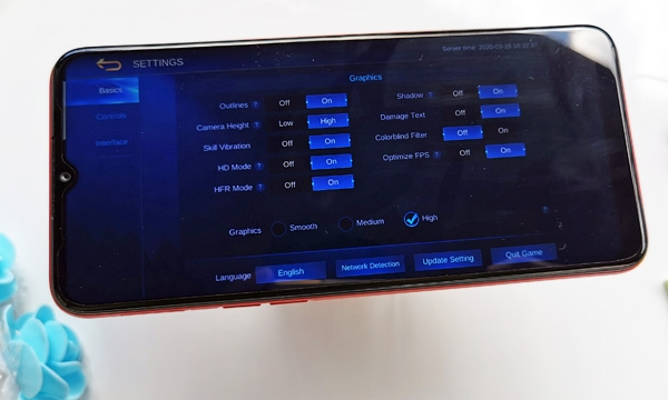Graphics settings of Mobile Legends on the Realme C3 during the tests.