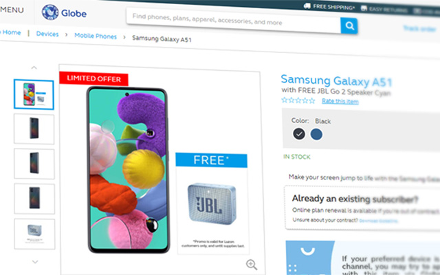 Samsung Galaxy A51 at Globe's online store.