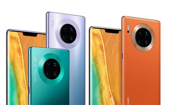 The Huawei Mate 30 Pro and Huawei Mate 30 Pro 5G smartphones.