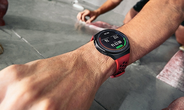 Huawei Watch GT 2e during a wall climbing workout session.