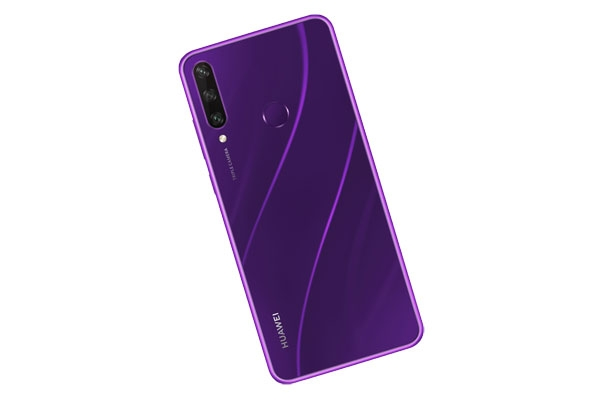 The Huawei Y6p in purple.