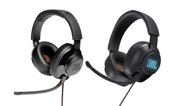 The JBL Quantum 300 (left) and JBL Quantum 400 (right) headphones.
