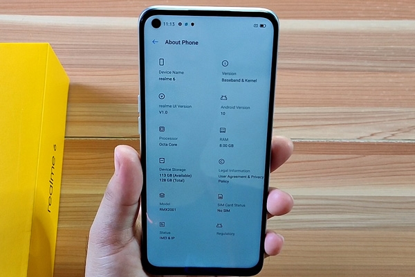 The About Phone page of the Realme 6.