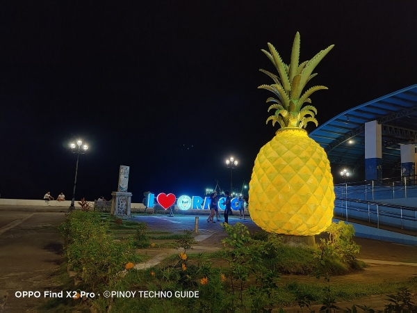 OPPO Find X2 Pro sample picture (pineapple statue, Night Mode).