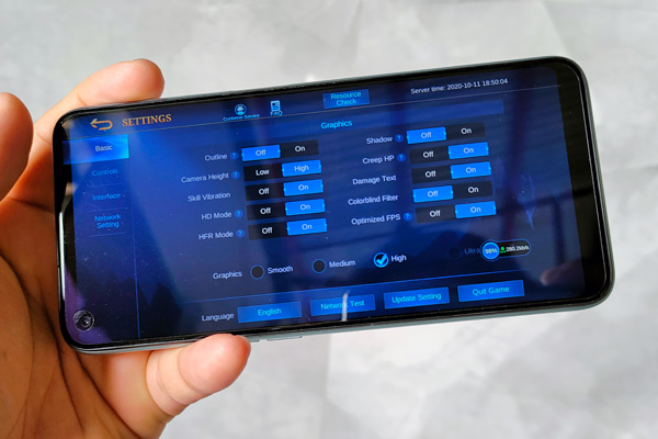Mobile Legends on the realme 7.