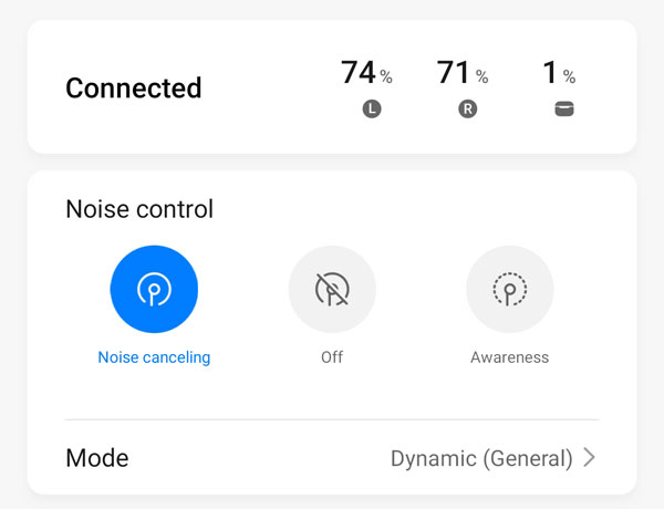 Noise cancellation modes found on the Huawei AI life app.
