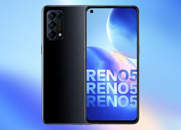 The OPPO Reno5 smartphone in black.