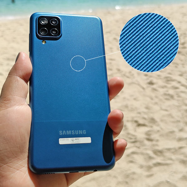 The textured back of the Samsung Galaxy A12.