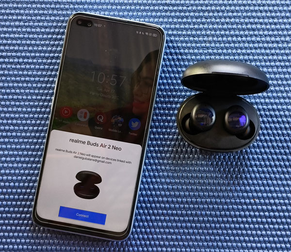 Initial pairing of the realme Buds Air 2 Neo with the realme X3 SuperZoom.