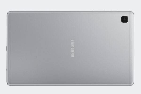 Back of the Samsung Galaxy Tab A7 Lite in silver.