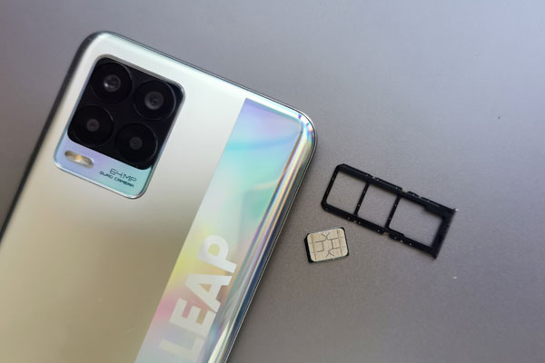 The realme 8 has dedicated slots for two SIM cards and a micro-SD card.