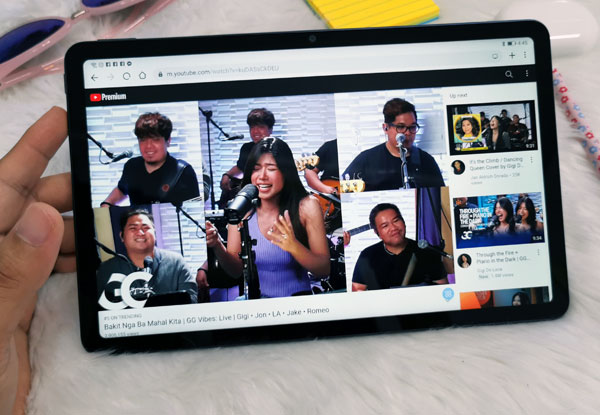 Watching Gigi Vibes on YouTube using the new Huawei MatePad.