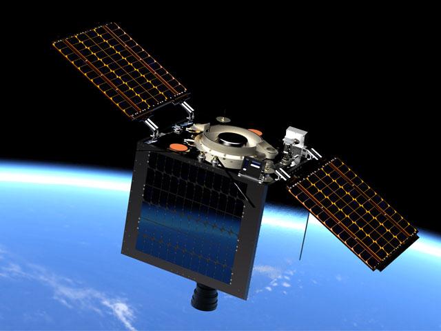 A 3D render of the MULA satellite in orbit.