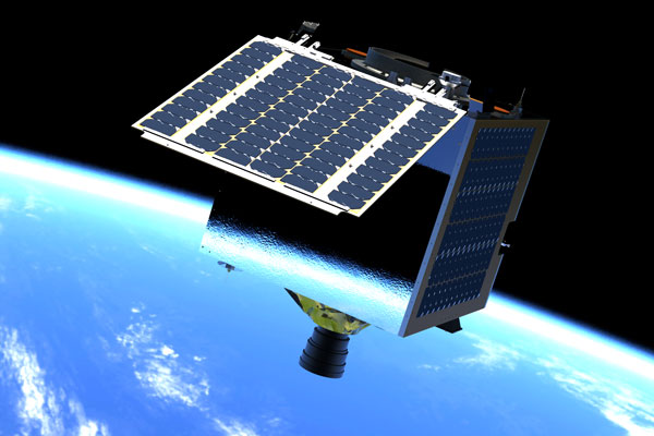 Artist's impression of a TrueColor satellite in orbit.