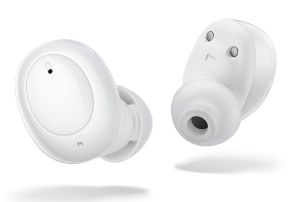 The OPPO Enco Buds earbuds with soft silicone tips.