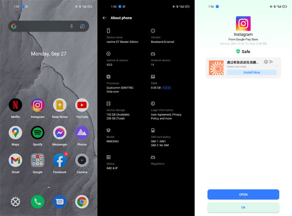 Screenshots of the realme GT Master Editions UI.